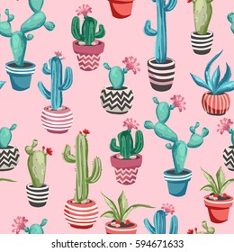 Cacti flower background. Seamless pattern with cactus and succulents. Hand drawn vector illustration in trendy cute cartoon style.