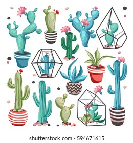 Cacti flower collection. Set of cactus and succulents isolated on white background. Hand drawn vector illustration in trendy cute cartoon style.