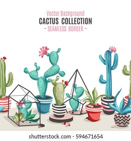 Cacti flower pattern. Seamless border with cactus and succulents. Hand drawn vector background in trendy cute cartoon style.