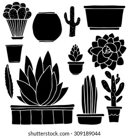 Cacti hand drawn black silhouettes set, succulents, houseplants, flowerpots, vases, boxes isolated on white background