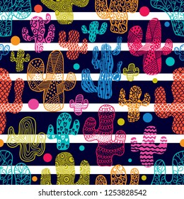 Сute cacti and stripes Colorful vector seamless pattern. Can be used in textile industry, paper, background, scrapbooking.