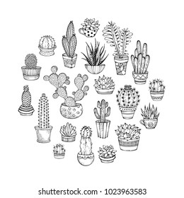 Cacti and succulents round doodles illustration. Home plants in pots and cups. A variety of outlined cactuses and succulents with flowers, spines and without. Can be used to colouring book for adults.