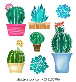 Cacti watercolor set, succulents, home flowers, houseplants in pots, blossoms isolated on white background