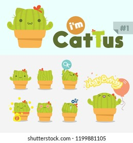 CACTTUS is combination between cat and cactus Cute Monster Alien Characters Vector Happy Set