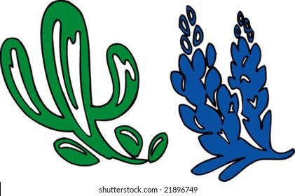 Cactus and Bluebonnet