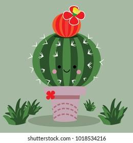 Cactus cartoon adorable character 2d illustration sphere.