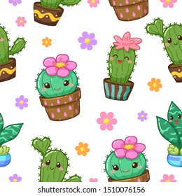 Cactus cartoon seamless pattern design on white background, Cute character cartoon, Vector illustration, Suitable for wallpaper, texture and pattern on gift wrap.