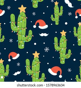Cactus Christmas seamless pattern Holiday background Christmas cactus light Santa hat mustache snowflakes