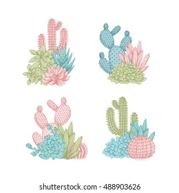 Cactus compositions. Sketchy style illustration. Succulent collection. Vector illustration