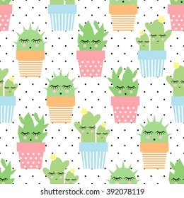 Cactus in cute pots seamless pattern on polka dots background. Simple cartoon plant vector illustration. Child drawing style cute sleeping cactus background. Design for fabric and decor.