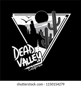 Cactus Dead Valley California with slogan western road tripper style t-shirt design, print, typography, label with styled saguaro cactus and rocks. Vector illustration.
