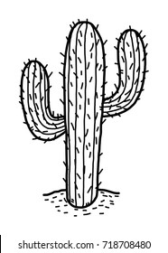 cactus in desert / cartoon vector and illustration, black and white, hand drawn, sketch style, isolated on white background.