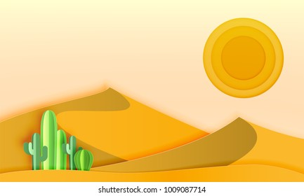 Cactus in the desert landscape with paper art style vector illustration