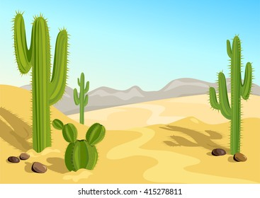 cactus in the desert. natural background. vector illustration