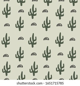 Cactus at the desert seamless pattern for kids,nursery, babies and children. Simple element minimalist design