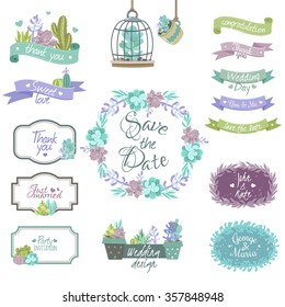 Cactus design elements for congratulations and wedding invitations flat isolated vector illustration