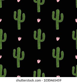 Cactus design. Seamless pattern. Vector illustration, black background.