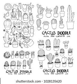 Cactus doodle illustration wallpaper background line sketch style set on chalkboard