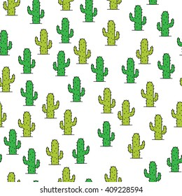 cactus doodle seamless pattern