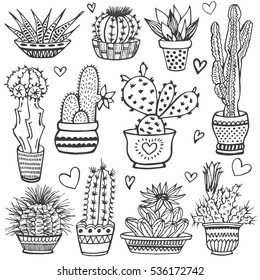 Cactus doodle set. Hand drawn vector illustration, sketch collection of house plants. Natural design elements.