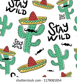 Cactus drawing with Mexican hat and mustache seamless repeating pattern texture / Vector illustration design for fashion fabrics, textile graphics, wallpapers and other uses