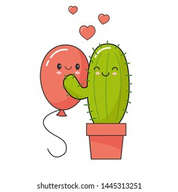Cactus fell in love with balloon. Forbidden or risk love story concept