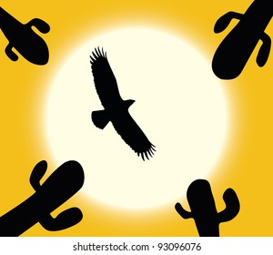 Cactus, flying eagle silhouette on sun background. Vector