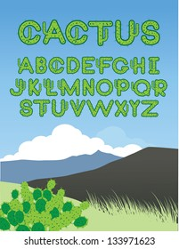 Cactus Font A through Z. EPS 8 vector, grouped for easy editing. No open shapes or paths.