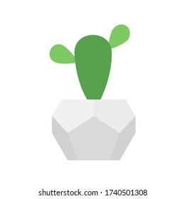 Cactus in geometric concrete pot. Vector isolated home flower in trendy white pot