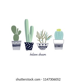 Cactus hand drawing.Vector print.Summer design.