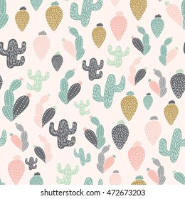 Cactus hand drawn vector seamless pattern