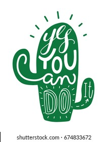cactus hand lettering