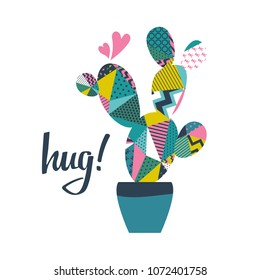 Cactus with hug inscription on white. Vector banner.