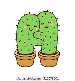 Cactus hug vector drawing. Cute cartoon cactus couple in love, funny Valentines day illustration.