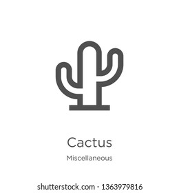 cactus icon. Element of miscellaneous collection for mobile concept and web apps icon. Outline, thin line cactus icon for website design and mobile, app development