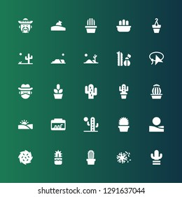 cactus icon set. Collection of 25 filled cactus icons included Cactus, Desert, Tumbleweed, Terrarium, Cowboy, Lasso, Flowerpot, Relics, Mexican