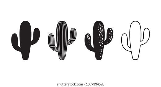 cactus icon vector logo symbol sign desert flower botanica plant garden summer tropical illustration doodle