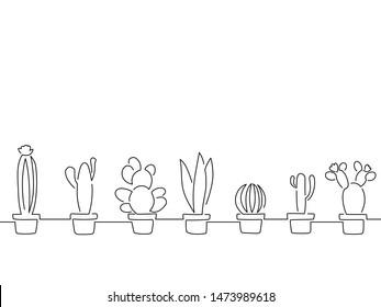 Cactus line drawing pattern, vector illustration design.