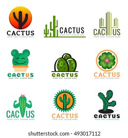 Cactus logo creative vector illustration set design