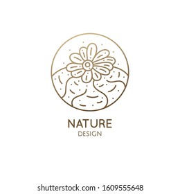 Cactus logo template. Lophophora diffusa. Vector round emblem of blossoming succulent. Garden plants of Africa. Abstract icon natural, eco products, beauty, spa, raw food, flower shop