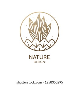 Cactus logo template. Vector emblem of home plant with thorns, flower in linear style. Abstract stylized illustration for bussines design, hand made packaging of natural, eco products, spa, yoga badge