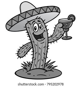 Cactus with Margarita Illustration - A vector illustration of a cartoon Cactus holding a Margarita.