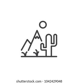 Cactus mountain and sun outline icon. linear style sign for mobile concept and web design. Rocky desert landscape simple line vector icon. Symbol, logo illustration