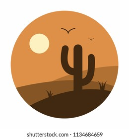 Cactus and mountains in desert landscape. Sunset in Arizona or Texas. Circle illustration. Vector