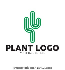 cactus plant logo vector illustration