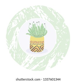 Cactus in plant pot clipart frame element. Indoor isolated succulent houseplant vector illustration. Desert mexican flowering cacti graphic design motif. Hand drawn garden plant sticker,icon, wallart.
