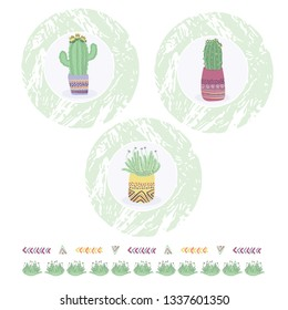 Cactus in plant pot clipart frame element set. Indoor isolated succulent houseplant vector illustration. Desert mexican flowering cacti design motif. Hand drawn garden plant sticker,icon, wallart.