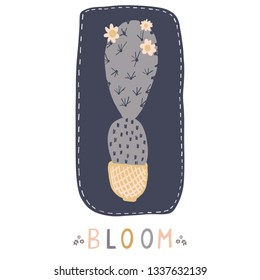 Cactus in plant pot clipart frame element. Indoor isolated succulent houseplant vector illustration. Desert flowering cacti greetings card motif. Hand drawn garden plant sticker, trendy word wallart