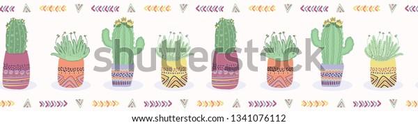 Cactus Plant Pot Seamless Border Pattern Stock Vector Royalty