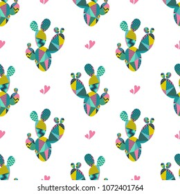 Cactus plant vector seamless pattern.